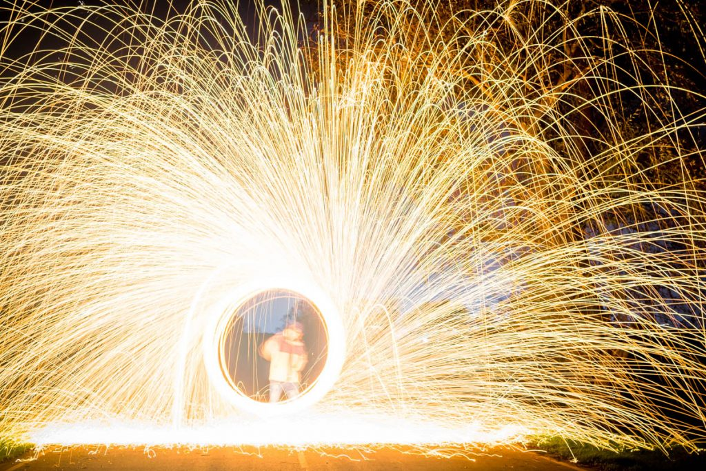 Fire Spinning Wire Wool Photography