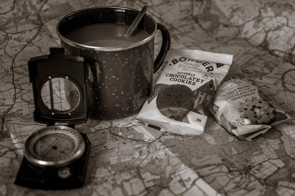 Black & White, Mono, Border Biscuits with map, compass, mug of tea