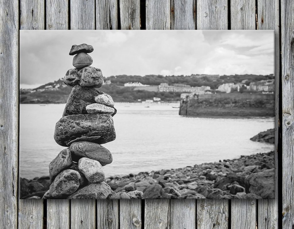 Stone stacking St. Ives beach Cornwall Canvas