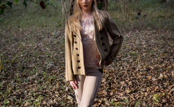 Modelling in the countryside for a country clothing photography shoot near Ipswich