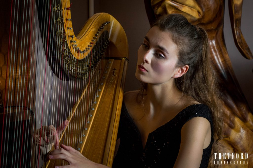 Classical harpist photo portrait