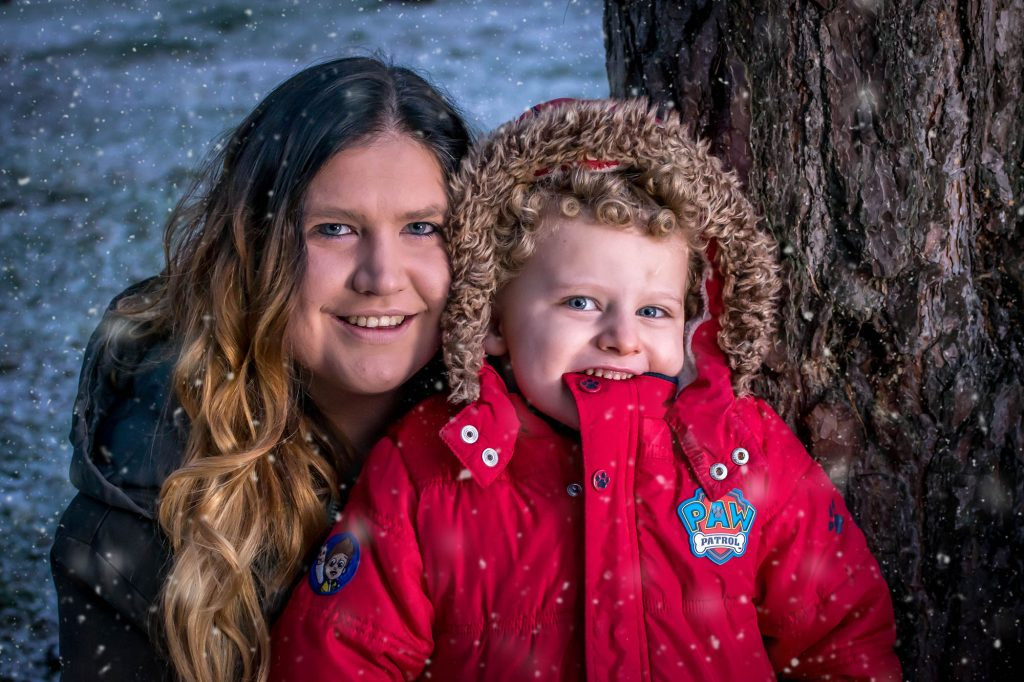 snow, christmas, mother and son