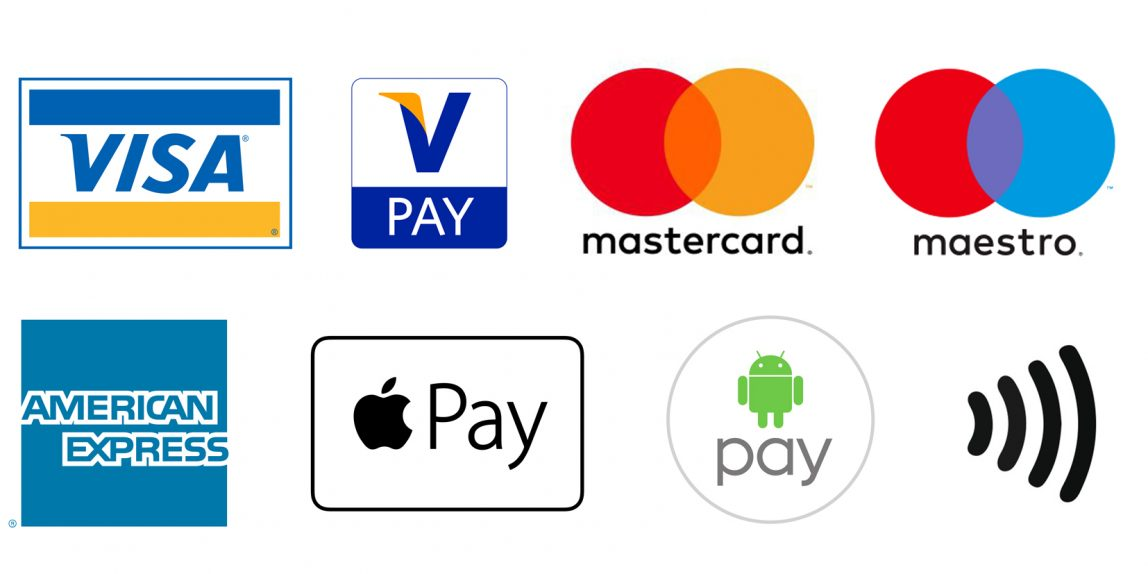 Visa, Mastercard, Maestro, Apply Pay, Android Pay, American Express and Contactless