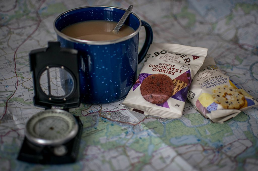 Border Biscuits with map, compass, mug of tea